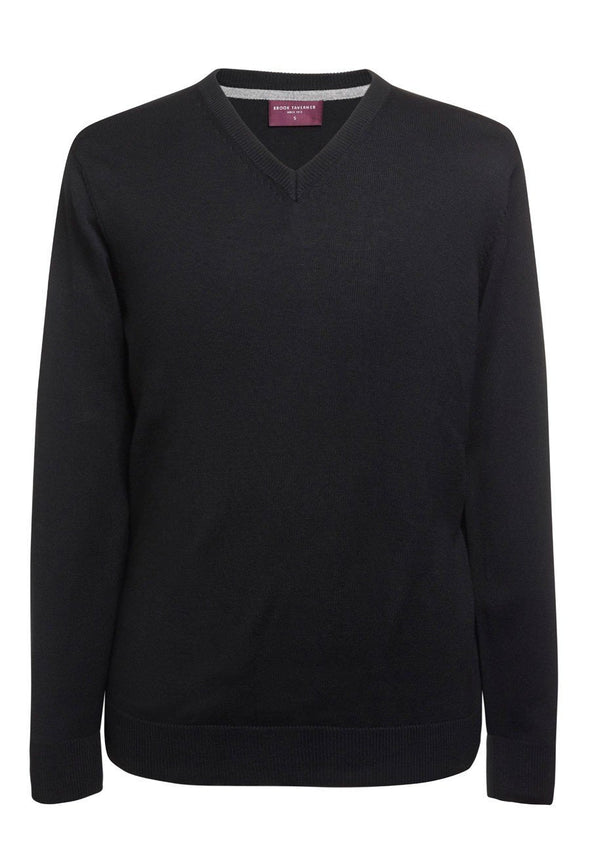 7818 - Boston V-Neck Jumper Mens Knitwear Brook Taverner Black XS