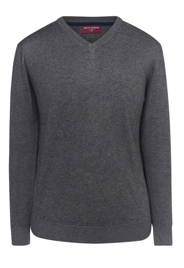 7818 - Boston V-Neck Jumper Mens Knitwear Brook Taverner Charcoal XS