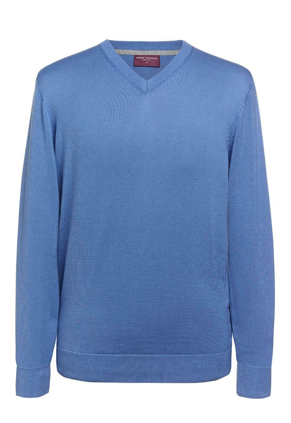 7818 - Boston V-Neck Jumper Mens Knitwear Brook Taverner Light Blue XS