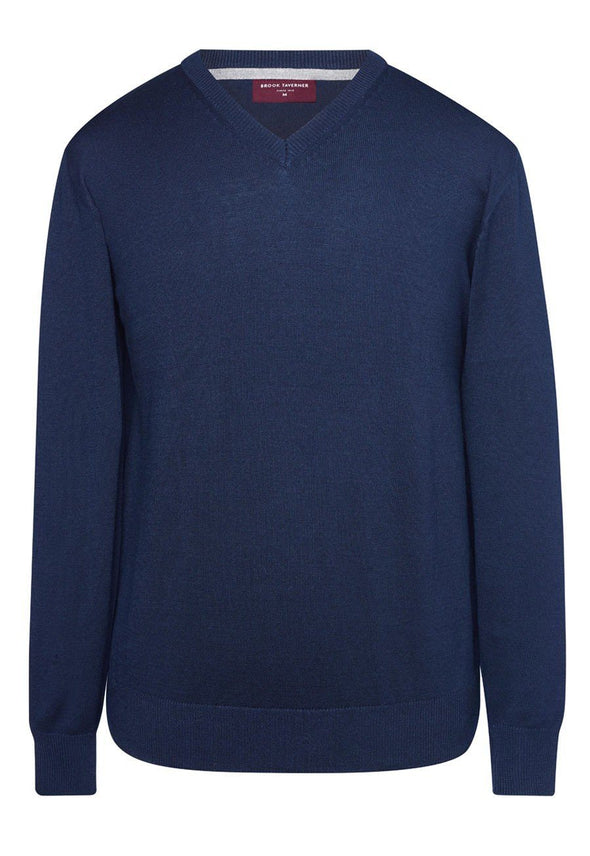 7818 - Boston V-Neck Jumper Mens Knitwear Brook Taverner Navy XS