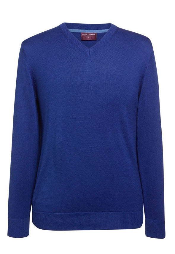 7818 - Boston V-Neck Jumper Mens Knitwear Brook Taverner Royal Blue XS