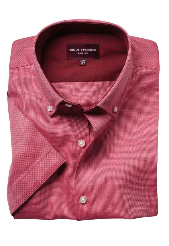 7883 - Calgary Shirt Mens Short Sleeve Shirts Brook Taverner Red 14.5""
