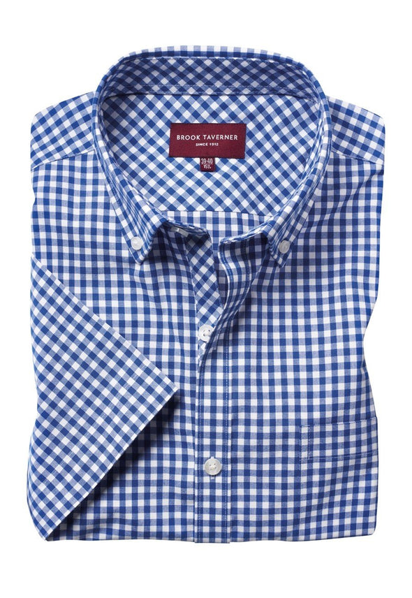 7885 - Portland Shirt Mens Short Sleeve Shirts Brook Taverner Blue 14""