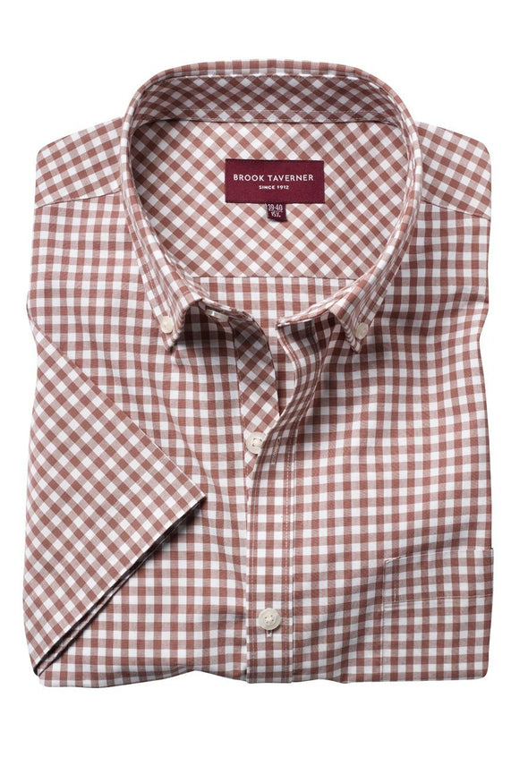 7885 - Portland Shirt Mens Short Sleeve Shirts Brook Taverner Brown 14""