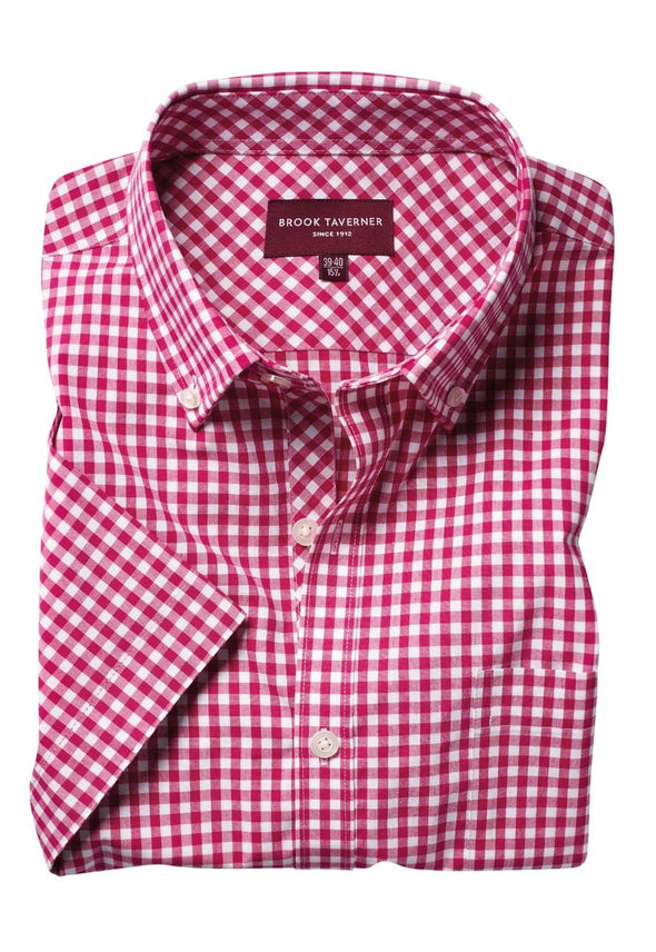 7885 - Portland Shirt Mens Short Sleeve Shirts Brook Taverner Red 14""