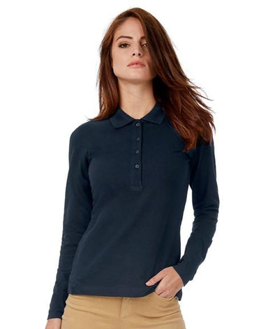 B370L - Womens Long Sleeve Safran Polo Womens Polos B&C