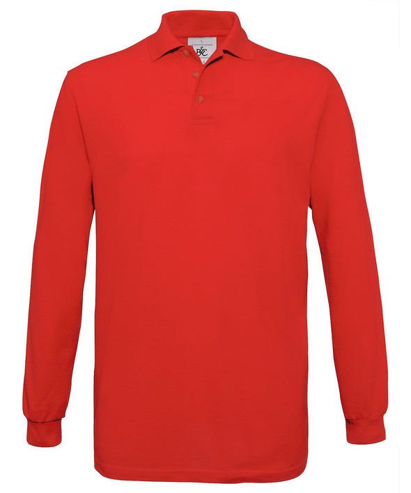 B&C L/S Safran Polo Mens Polos B&C Red S