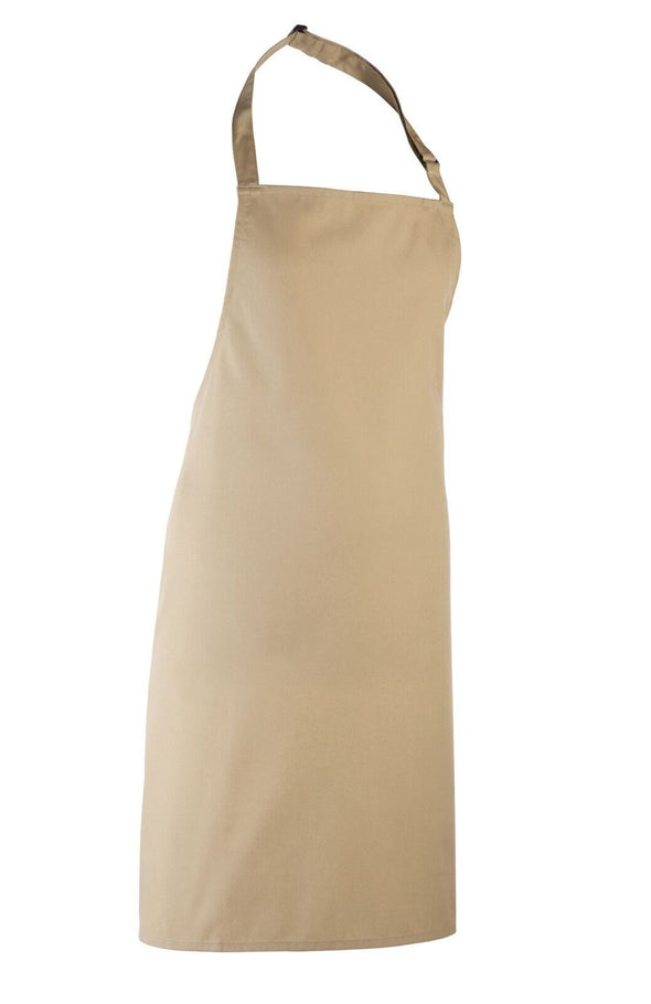 Colours Bib Apron - No pocket Aprons Premier Khaki