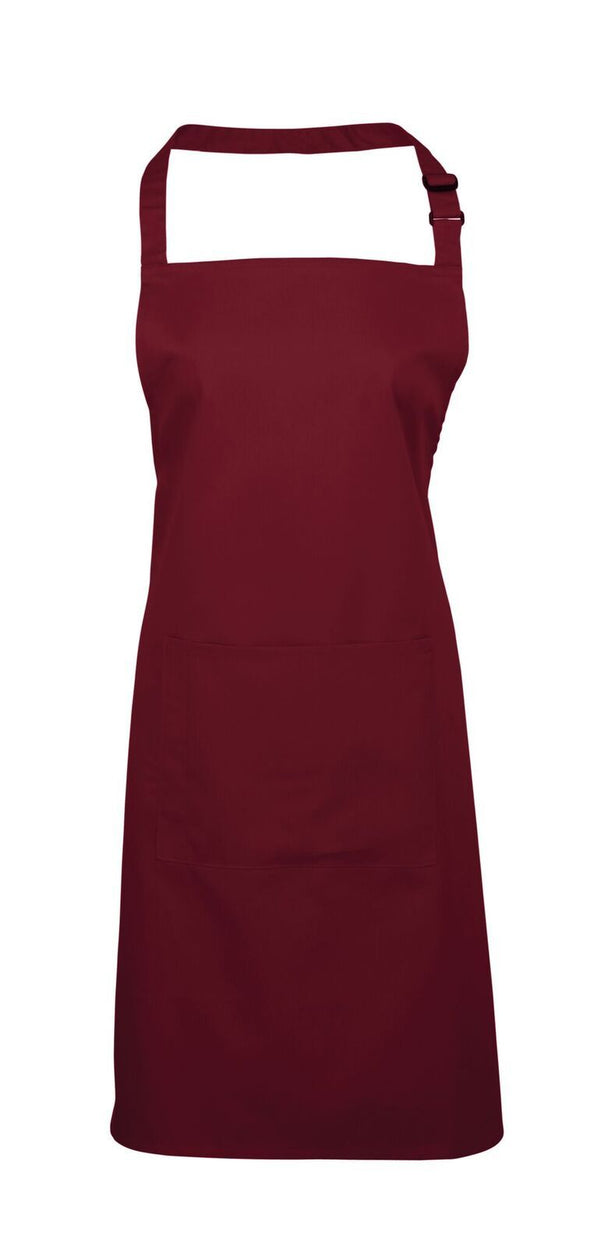 Colours Bib Apron - with Pocket Aprons Premier Burgundy