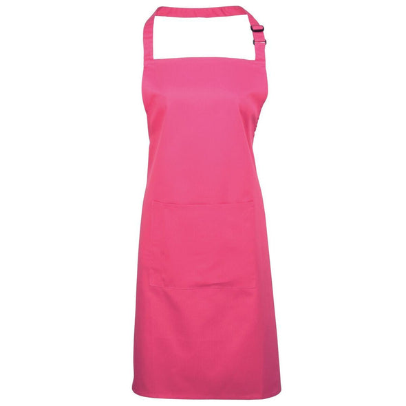 Colours Bib Apron - with Pocket Aprons Premier Hot Pink