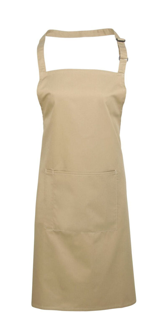 Colours Bib Apron - with Pocket Aprons Premier Khaki