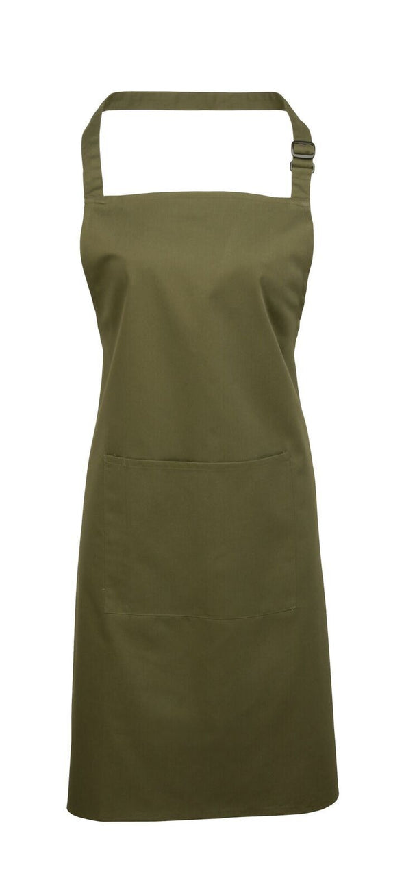 Colours Bib Apron - with Pocket Aprons Premier Olive