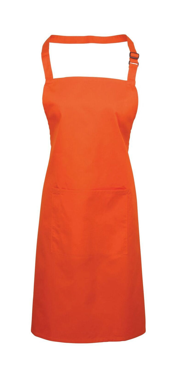 Colours Bib Apron - with Pocket Aprons Premier Orange