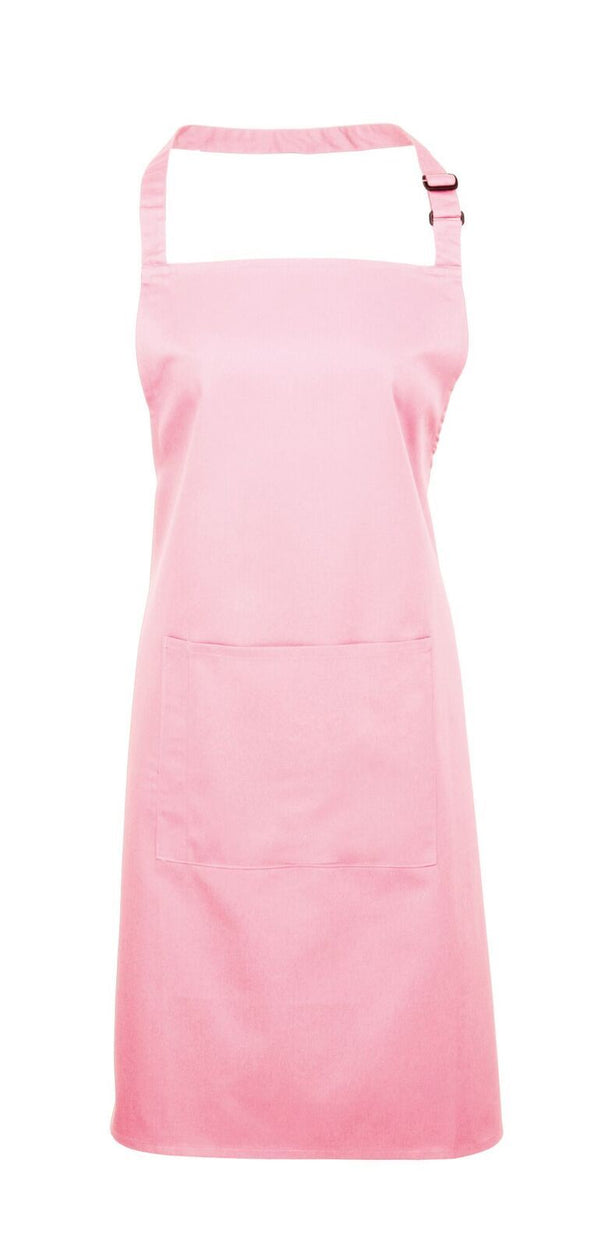Colours Bib Apron - with Pocket Aprons Premier Pink