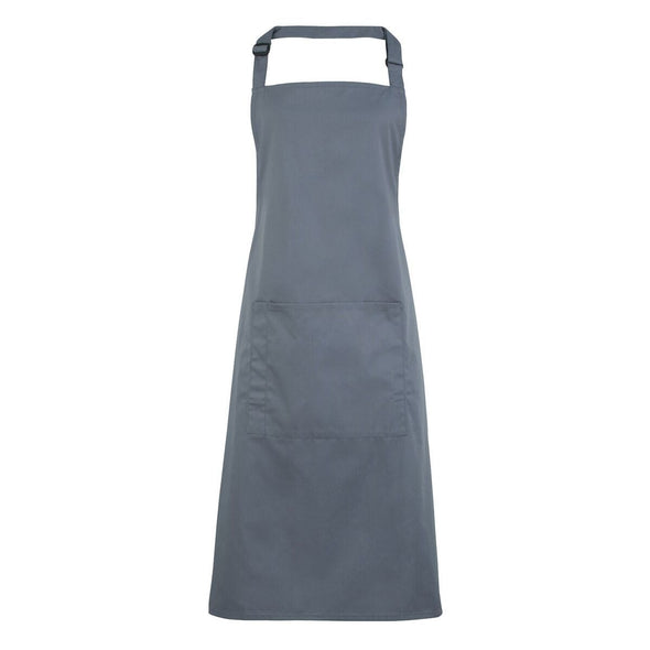 Colours Bib Apron - with Pocket Aprons Premier Steel
