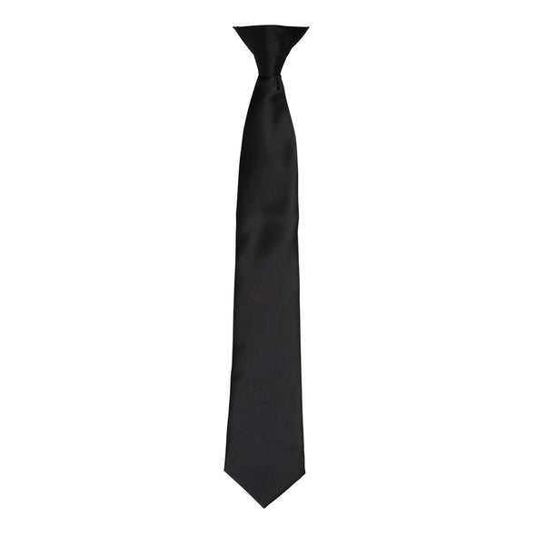 Colours Satin Clip Tie Ties Premier Black