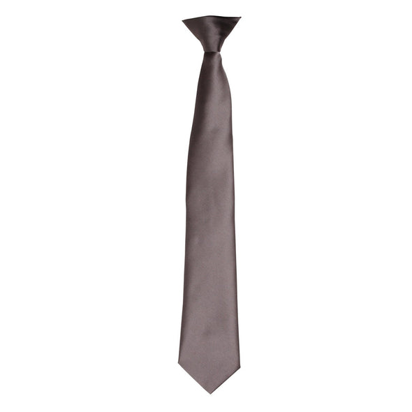 Colours Satin Clip Tie Ties Premier Dark Grey