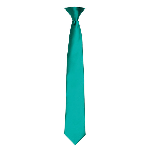 Colours Satin Clip Tie Ties Premier Emerald