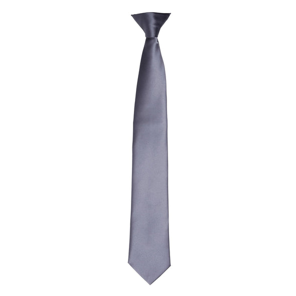 Colours Satin Clip Tie Ties Premier Steel