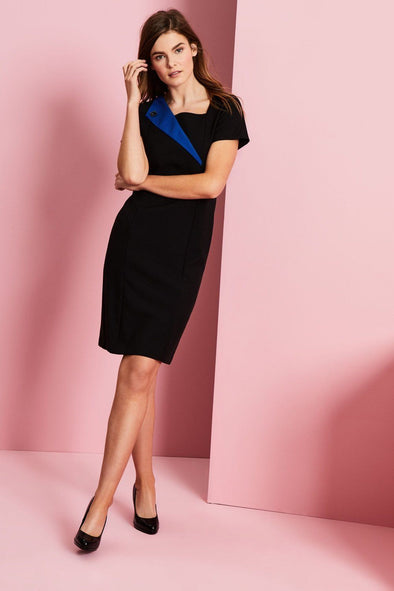 Feature Lapel Dress Beauty Dresses Simon Jersey Black/Cobalt Blue 6