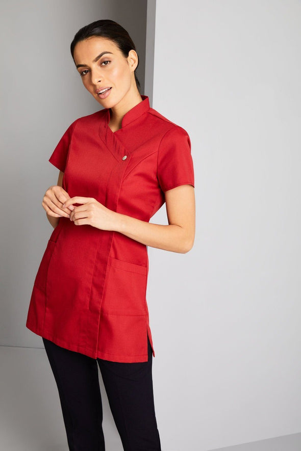 Feature Press Stud Tunic Beauty Tunics Simon Jersey Poppy Red 6