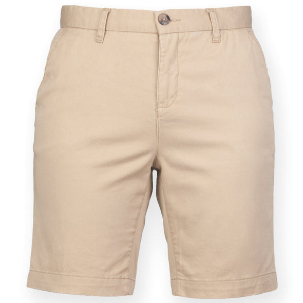 FR606 - Stretch Chino Shorts Womens Chinos Front Row & Co Stone XS