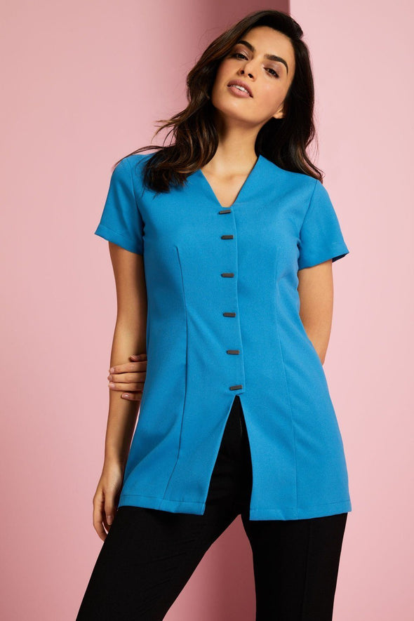 Front Fastening Tunic Beauty Tunics Simon Jersey Teal 6