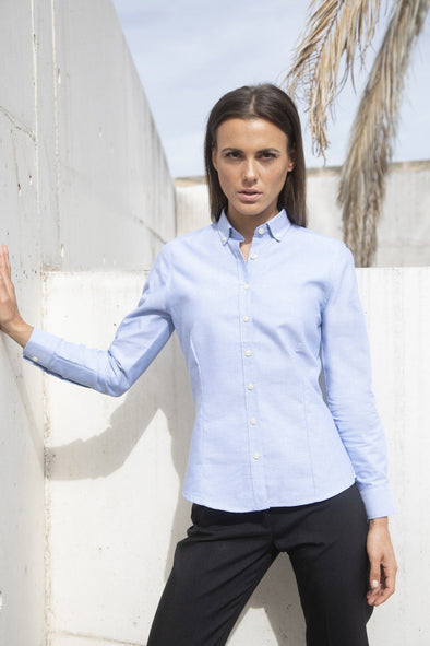 HB513 - Modern Oxford Shirt Womens Long Sleeve Shirts Henbury