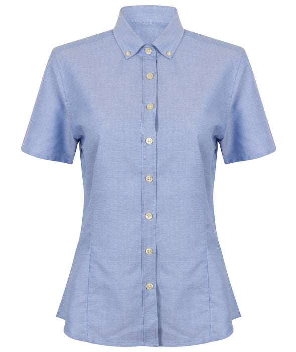HB518 - Modern Oxford Shirt Womens Short Sleeve Shirts Henbury Blue XS