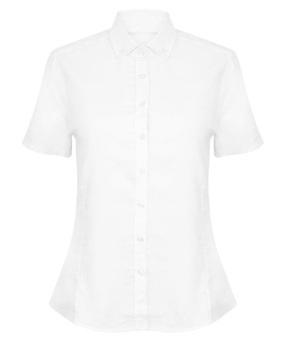 HB518 - Modern Oxford Shirt Womens Short Sleeve Shirts Henbury White XS