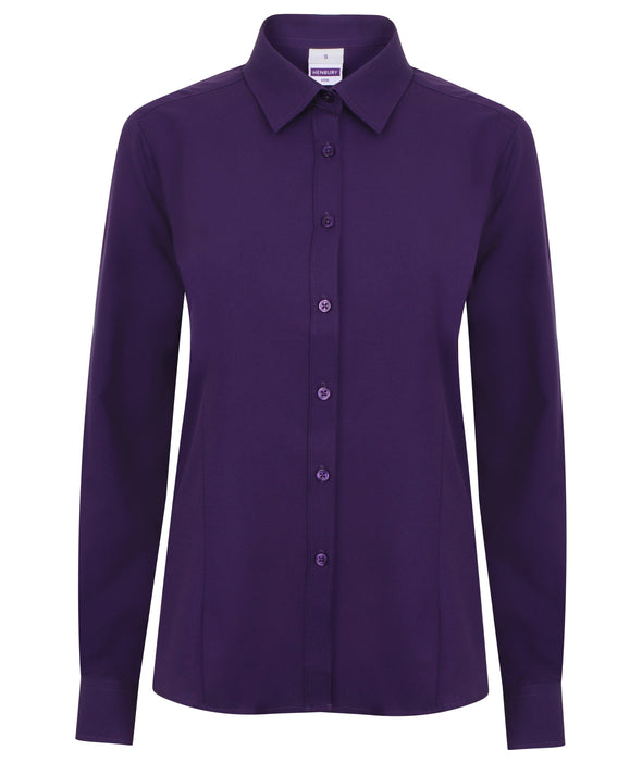 HB591 - Wicking Antibacterial Shirt Womens Long Sleeve Shirts Henbury Purple XS