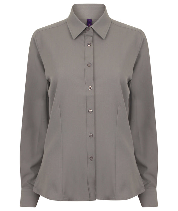 HB591 - Wicking Antibacterial Shirt Womens Long Sleeve Shirts Henbury Slate Grey XS