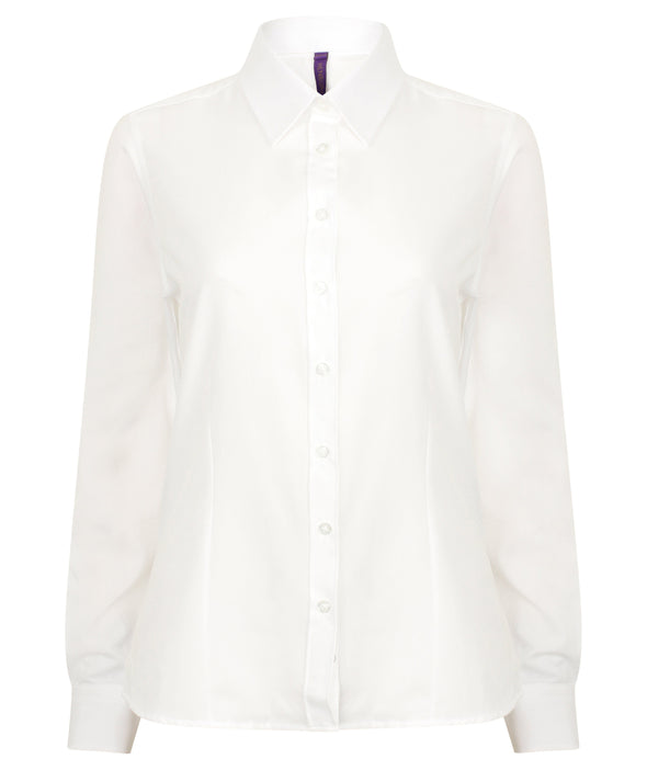 HB591 - Wicking Antibacterial Shirt Womens Long Sleeve Shirts Henbury White XS