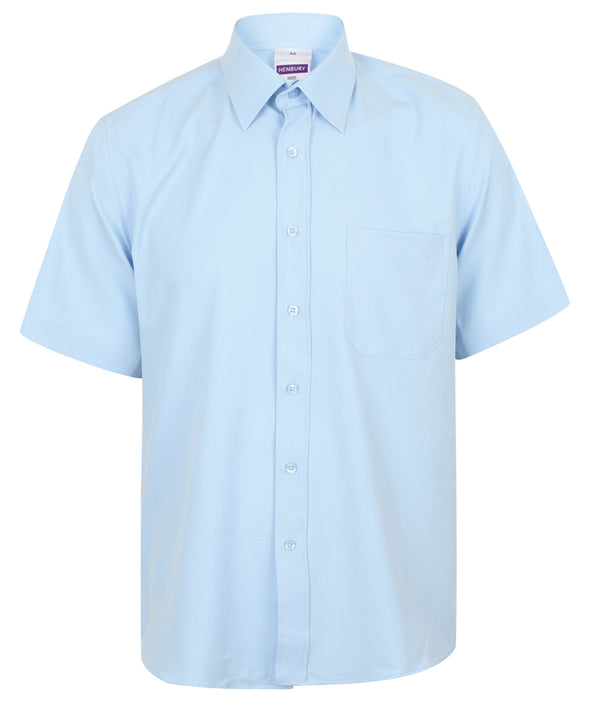 HB595 - Wicking Antibacterial Shirt Mens Short Sleeve Shirts Henbury Light Blue S