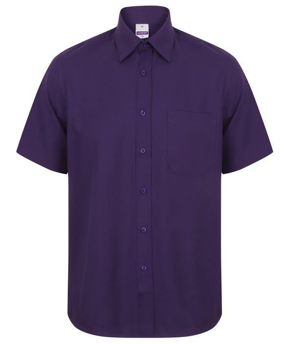 HB595 - Wicking Antibacterial Shirt Mens Short Sleeve Shirts Henbury Purple S