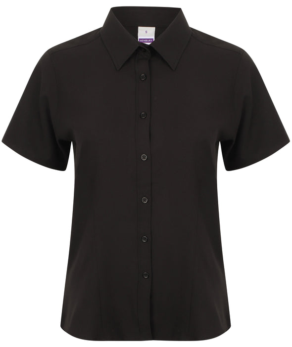 HB596 - Wicking Antibacterial Shirt Womens Short Sleeve Shirts Henbury Black XS