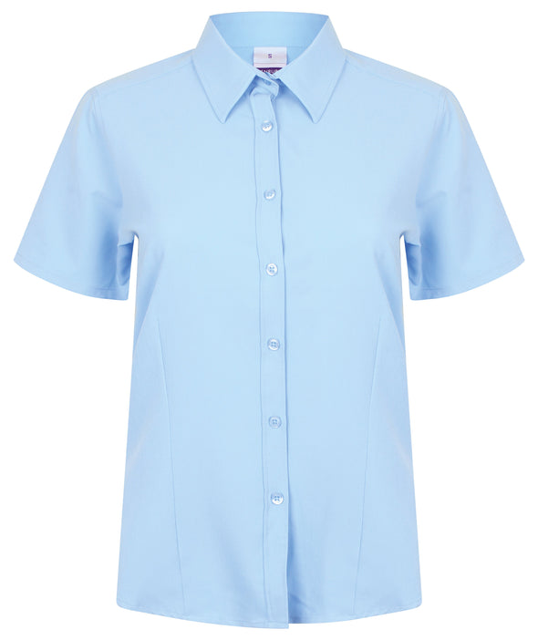HB596 - Wicking Antibacterial Shirt Womens Short Sleeve Shirts Henbury Light Blue XS
