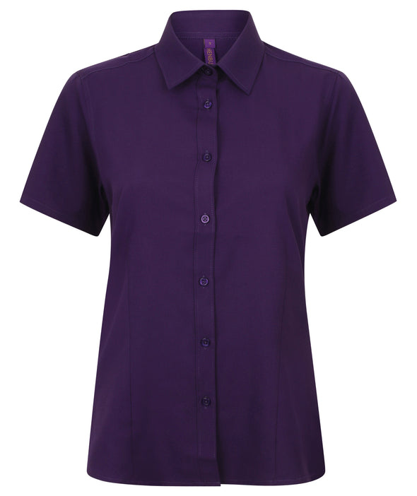 HB596 - Wicking Antibacterial Shirt Womens Short Sleeve Shirts Henbury Purple XS