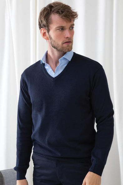 HB720 - 12 Gauge V-Neck Jumper Mens Knitwear Henbury