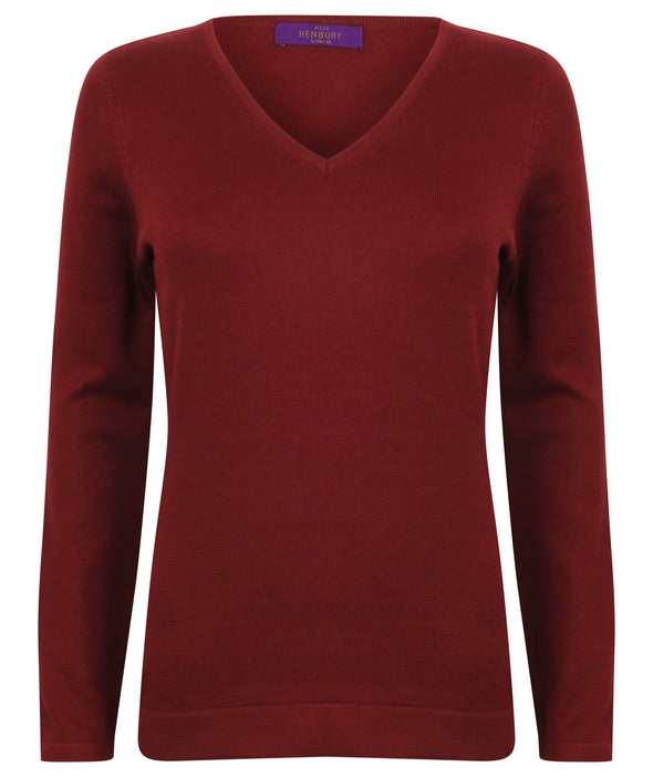 HB721 - 12 Gauge V-Neck Jumper Womens Knitwear Henbury Burgundy 2XS
