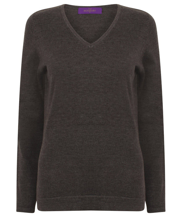 HB721 - 12 Gauge V-Neck Jumper Womens Knitwear Henbury Grey Marl 2XS