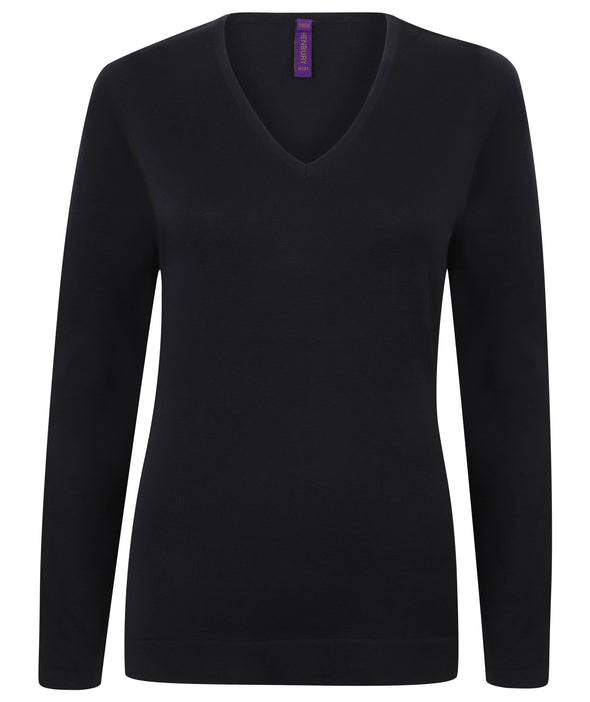 HB721 - 12 Gauge V-Neck Jumper Womens Knitwear Henbury Navy 2XS