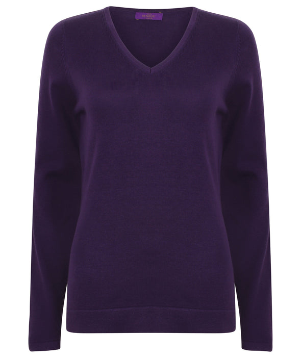 HB721 - 12 Gauge V-Neck Jumper Womens Knitwear Henbury Purple 2XS