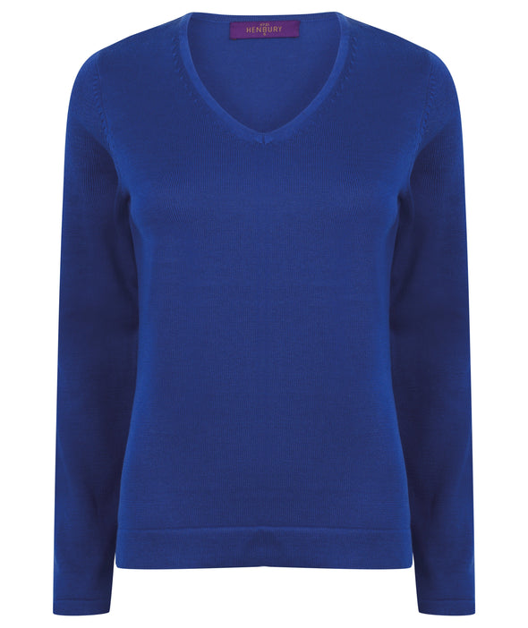 HB721 - 12 Gauge V-Neck Jumper Womens Knitwear Henbury Royal 2XS