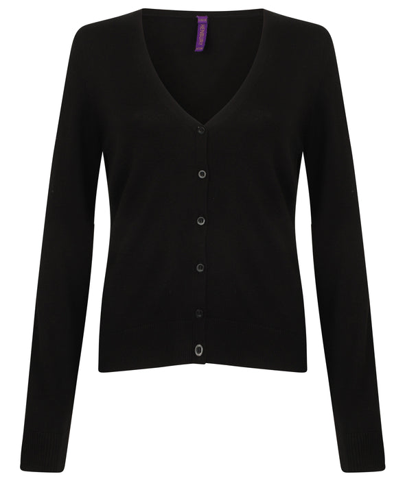 HB726 - V-Neck Cardigan Womens Knitwear Henbury Black 2XS
