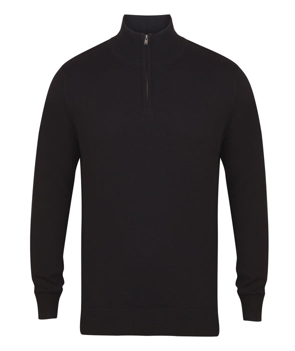 HB729 - 1/4 Zip Jumper Mens Knitwear Henbury Black XS
