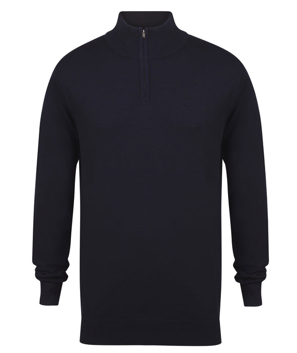 HB729 - 1/4 Zip Jumper Mens Knitwear Henbury Navy XS