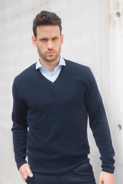 HB760 - Cashmere Touch V-Neck Jumper Mens Knitwear Henbury