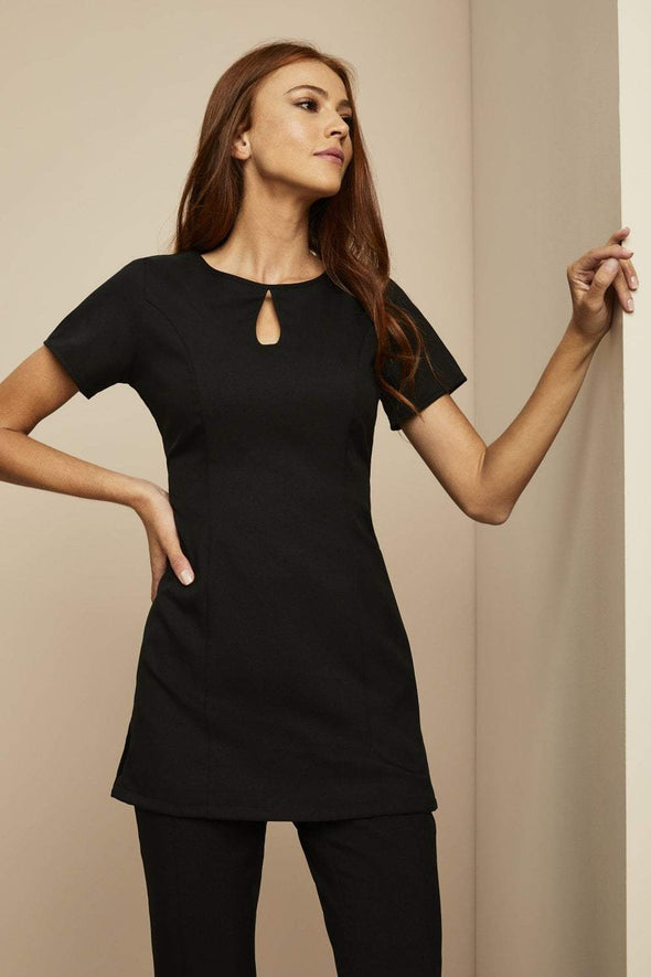 Keyhole Tunic with Pockets Beauty Tunics Simon Jersey Black 6