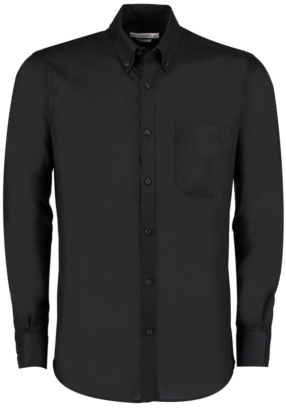 KK184 - Slim Fit Oxford Shirt Mens Long Sleeve Shirts Kustom Kit Black 14""